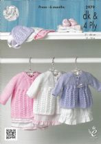 King Cole Baby DK & 4ply Knitting Pattern - 2979 Matinee Coat & Bonnet